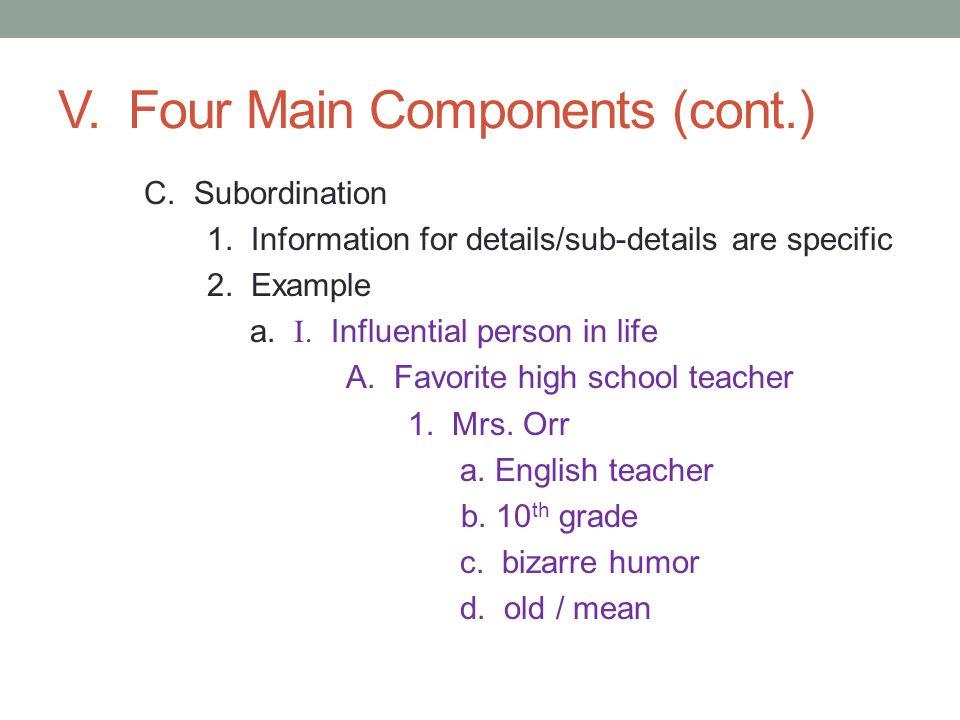V. Four Main Components (cont.)