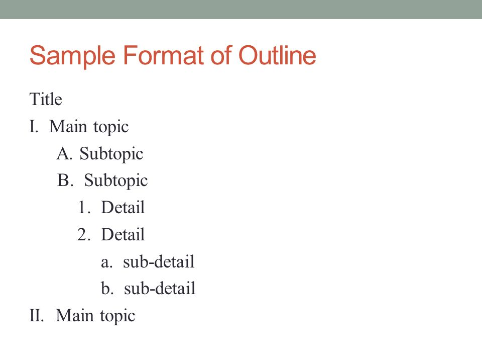Q. I need to do an OUTLINE in APA format. How do I do that?