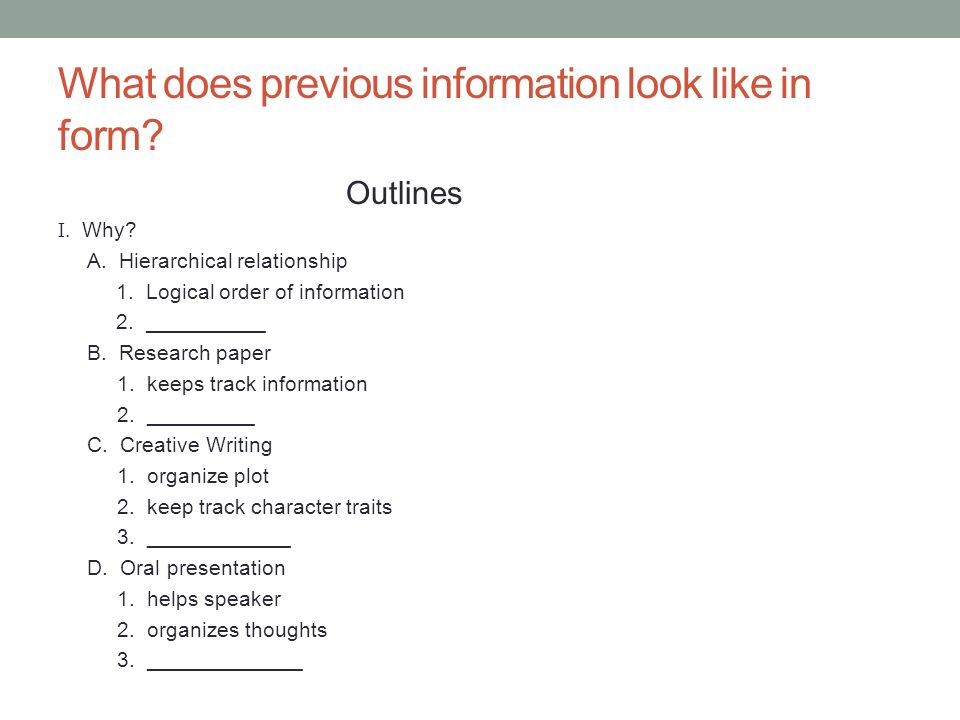 why create an outline for a research paper