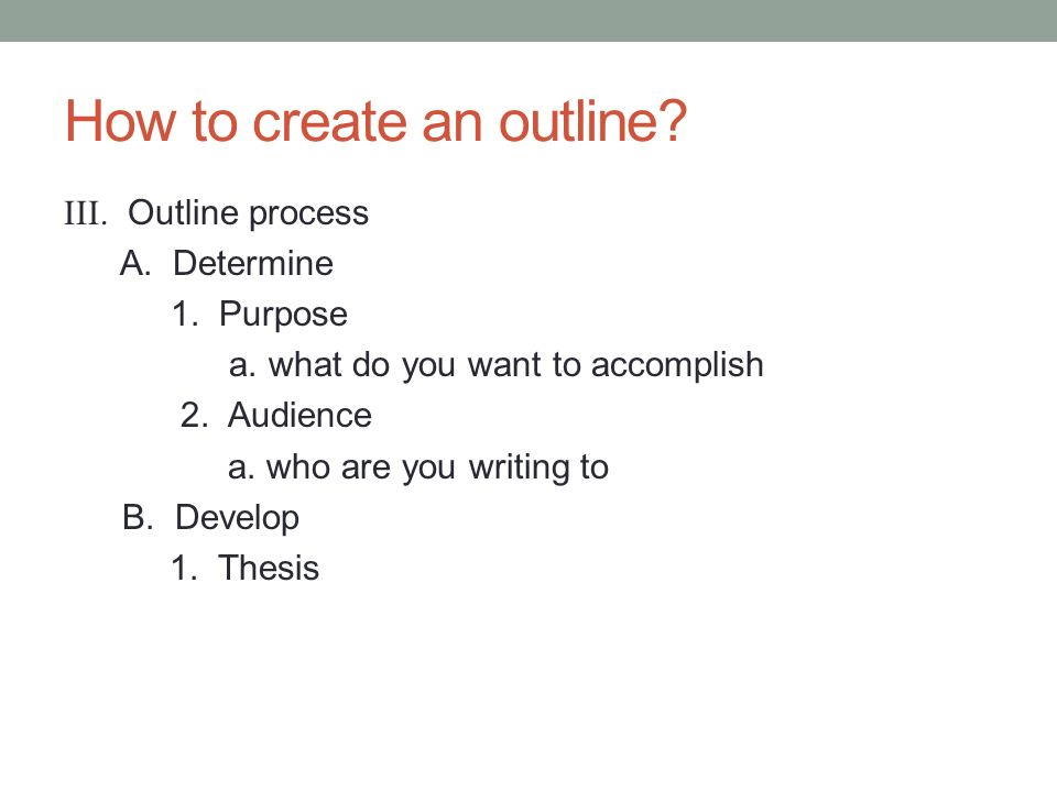 c creating an outline