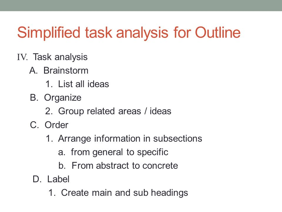 Simplified task analysis for Outline