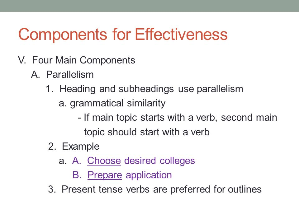 Components for Effectiveness