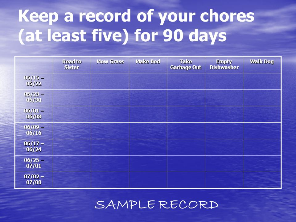 Keep a record of your chores (at least five) for 90 days