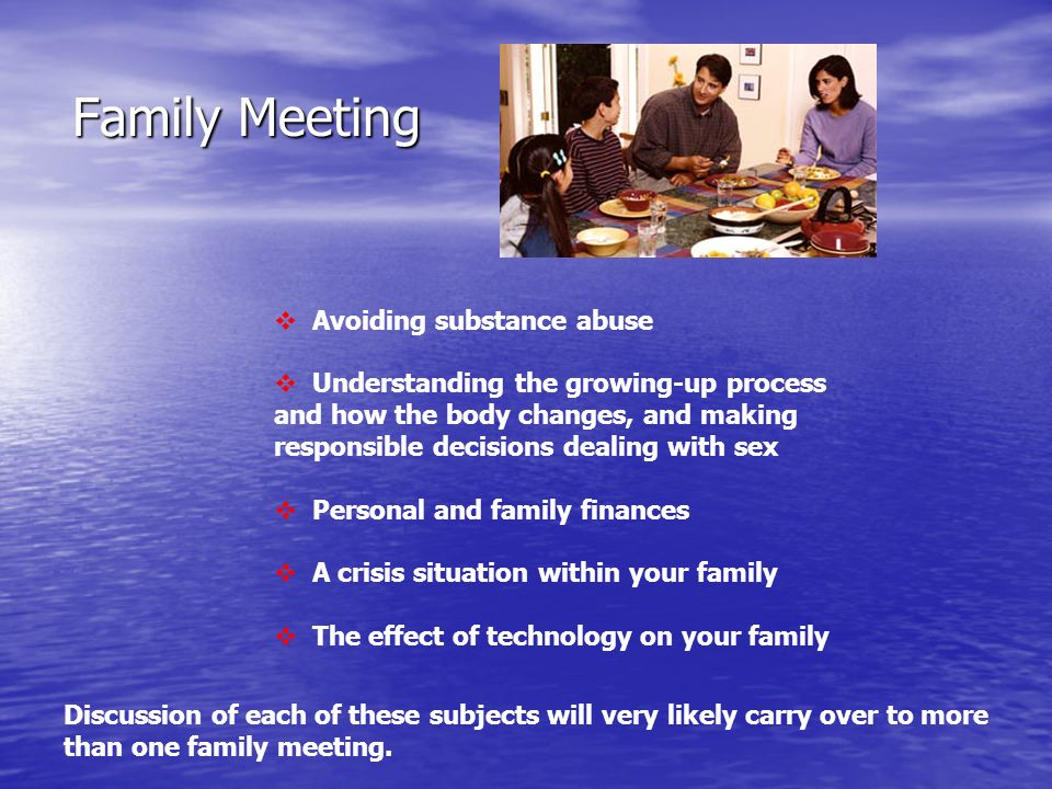 Family Meeting Avoiding substance abuse