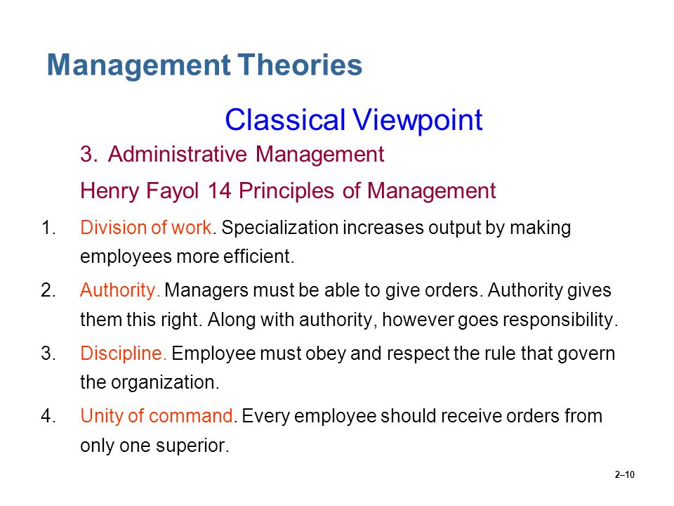 Management Theories Classical Viewpoint 3. Administrative Management