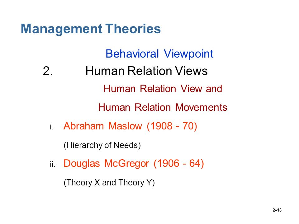 Management Theories 2. Human Relation Views Behavioral Viewpoint
