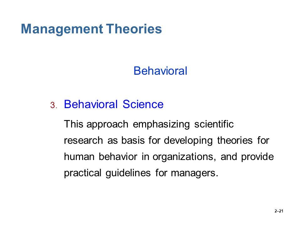 Management Theories Behavioral Behavioral Science