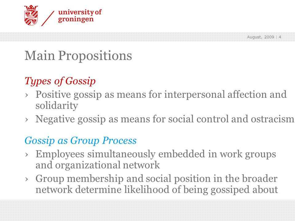 Main Propositions Types of Gossip
