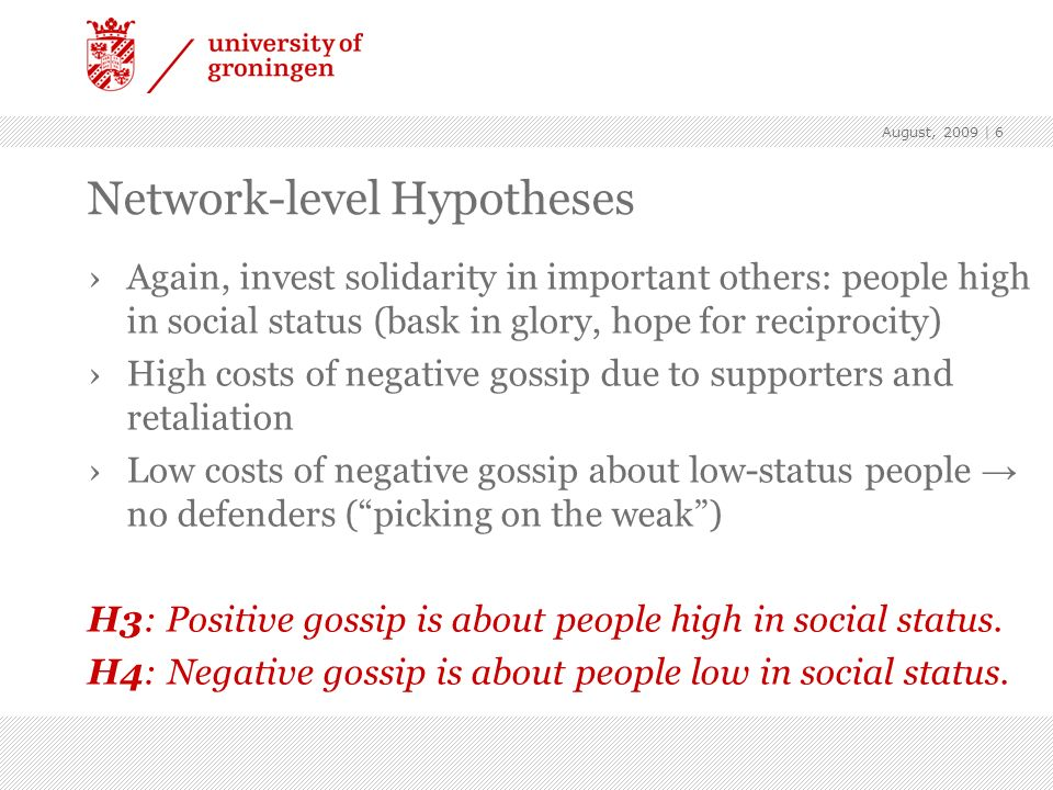 Network-level Hypotheses