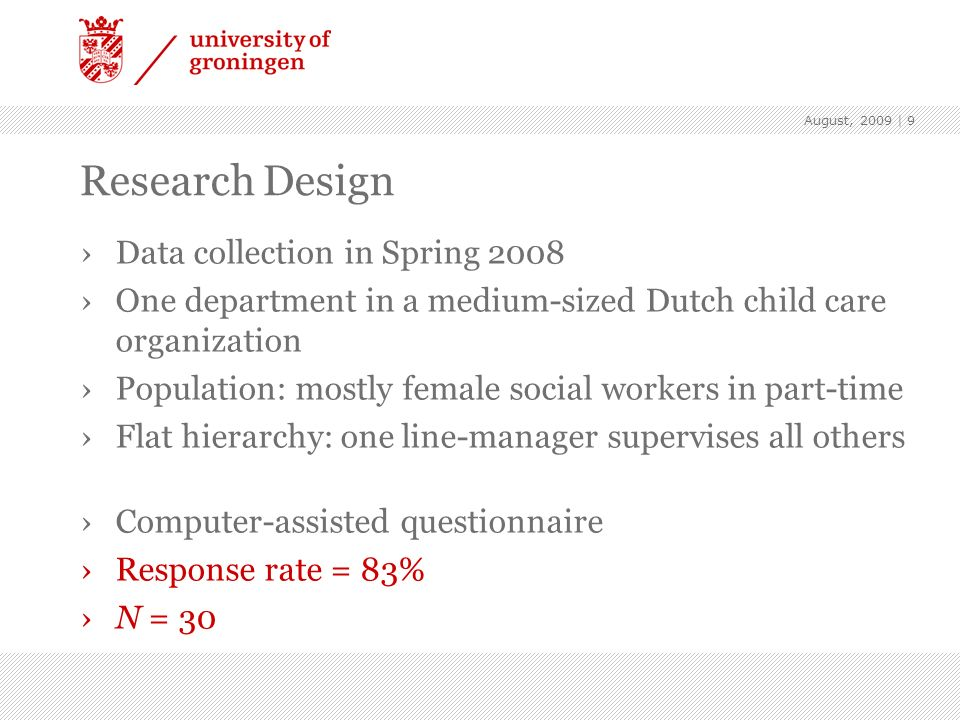Research Design Data collection in Spring 2008