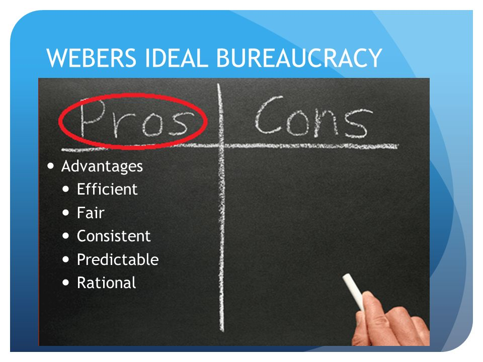 webers ideal bureaucracy So max weber believed that bureaucratic management is an ideal way of organizing government agencies some of the major characteristics of bureaucracy model as stated by max weber are technical expertise, division of labor, rules policies and procedures, impersonal contribution, and strict chain of command.