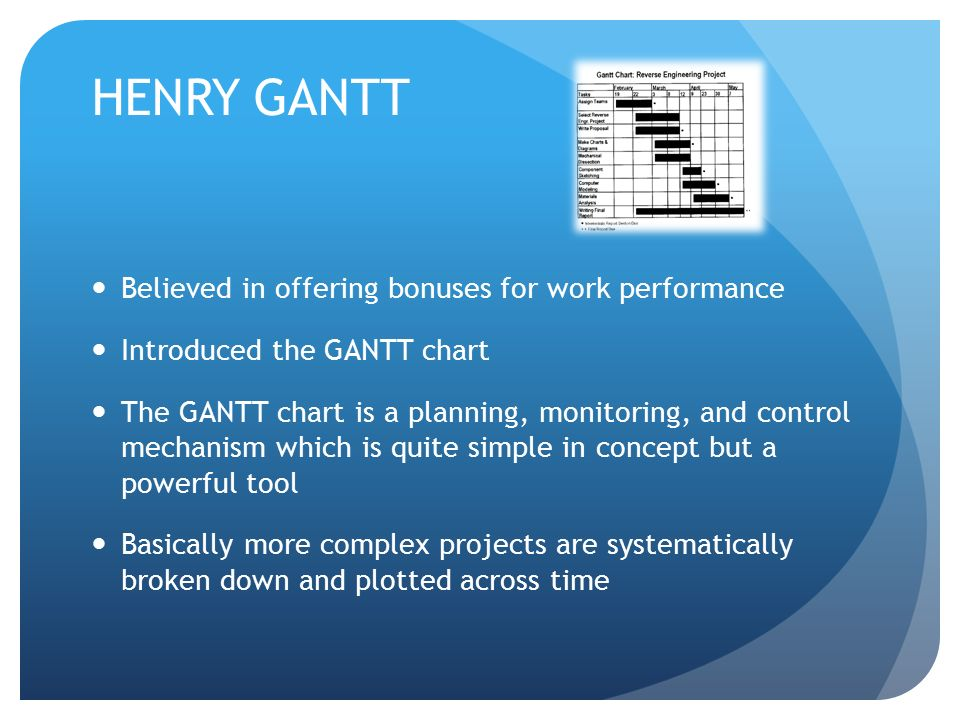 HENRY GANTT Believed in offering bonuses for work performance