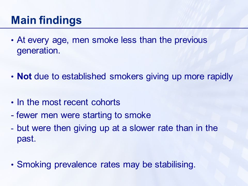 Main findings At every age, men smoke less than the previous generation. Not due to established smokers giving up more rapidly.