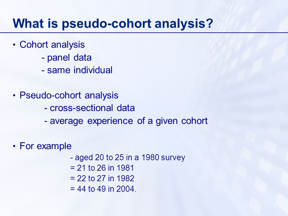 What is pseudo-cohort analysis