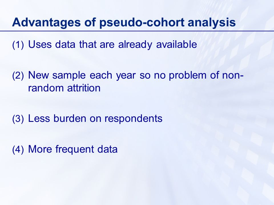 Advantages of pseudo-cohort analysis