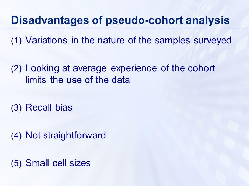 Disadvantages of pseudo-cohort analysis