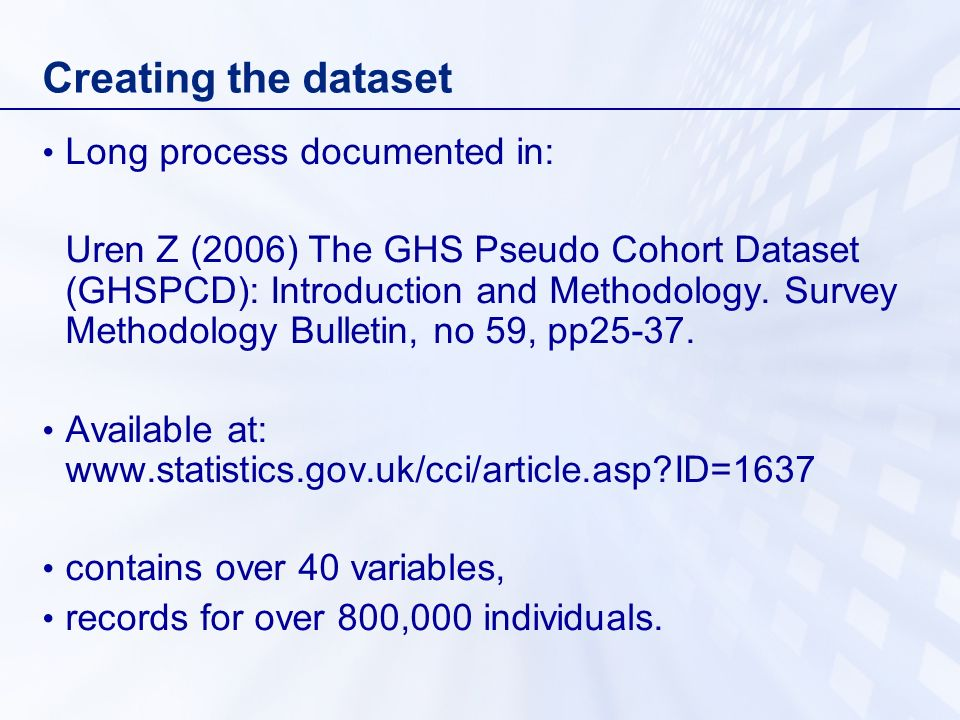 Creating the dataset Long process documented in:
