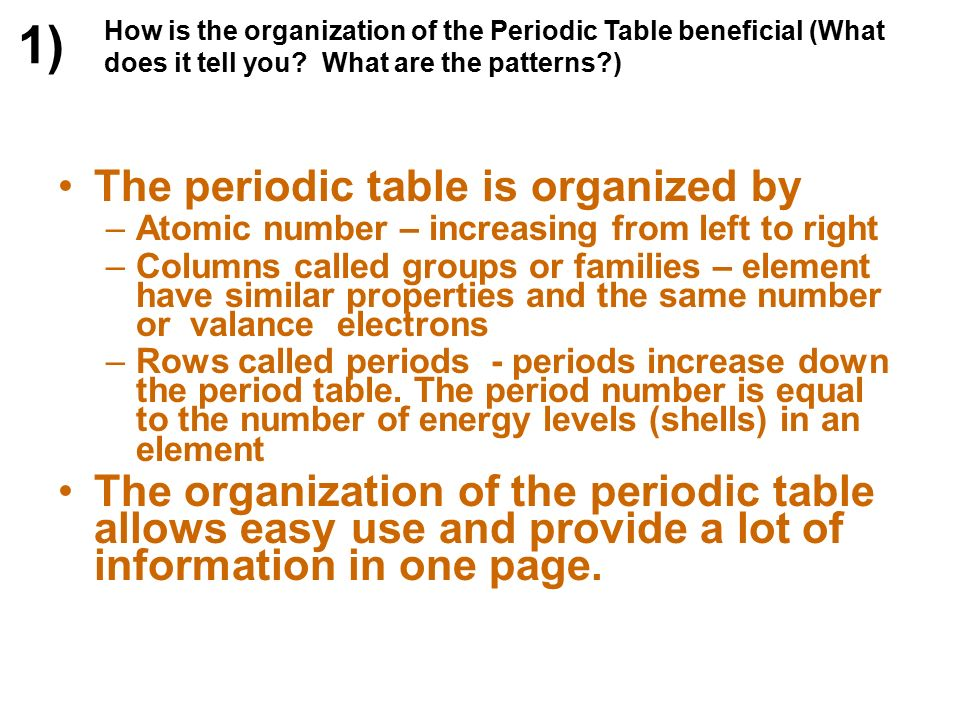 Chemistry 1 test review ppt download 1 the periodic table is organized by urtaz Gallery