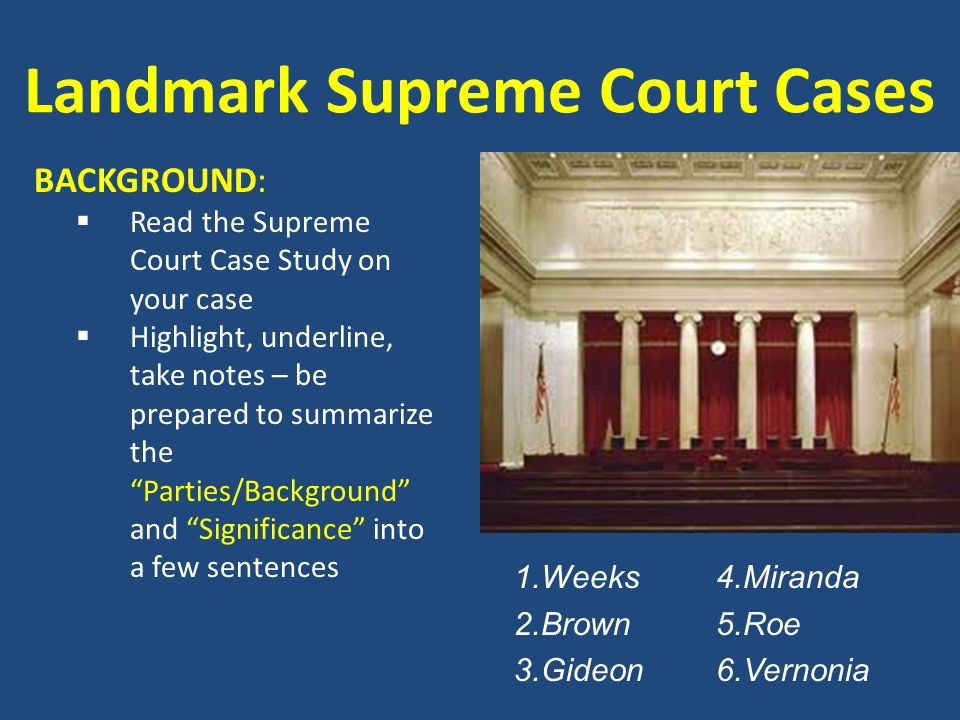 landmake court cases The following is a list of the 10 most significant supreme court cases dealing with women's rights in the history of the united states muller v oregon (1908) : while this supreme court case outcome was not exactly successful for women's rights, it was a landmark case in the history of gender equality.