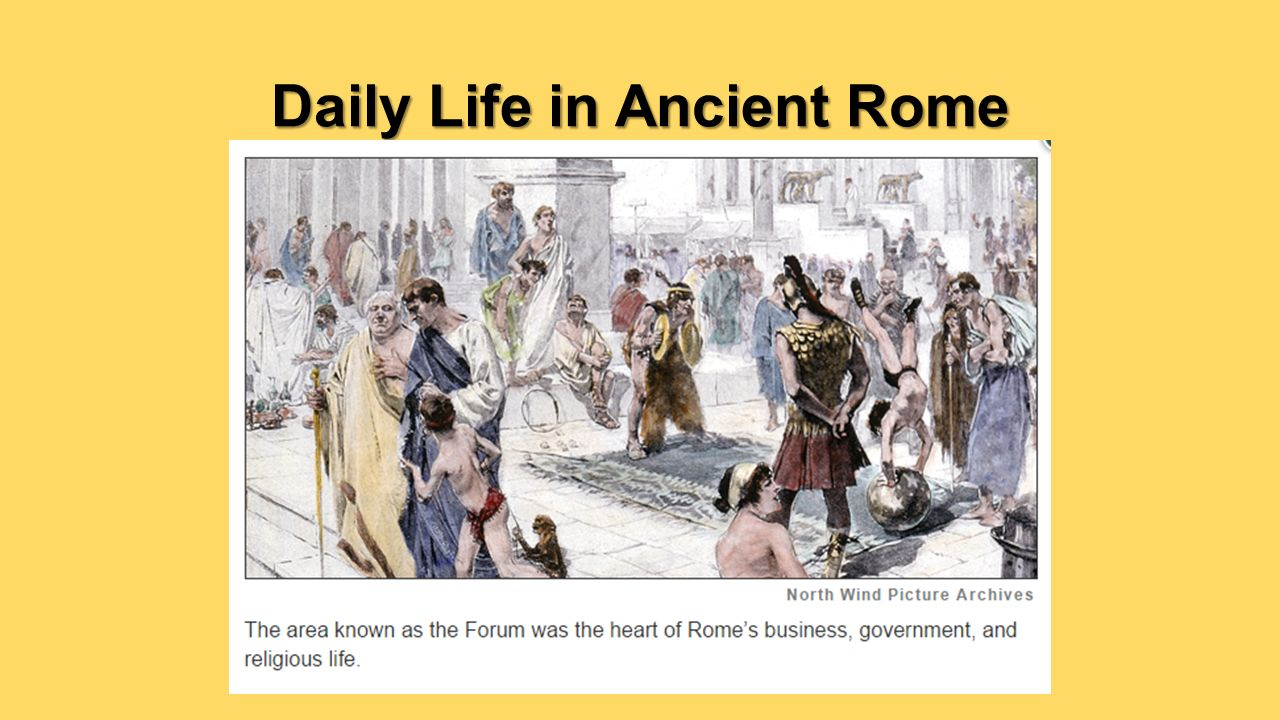an introduction to the daily life in ancient rome In this report about ancient rome i will be talking about a lot of different things one thing is how ancient rome was different from ancient greece, their daily life activities and lifestyles, and also about their religion.