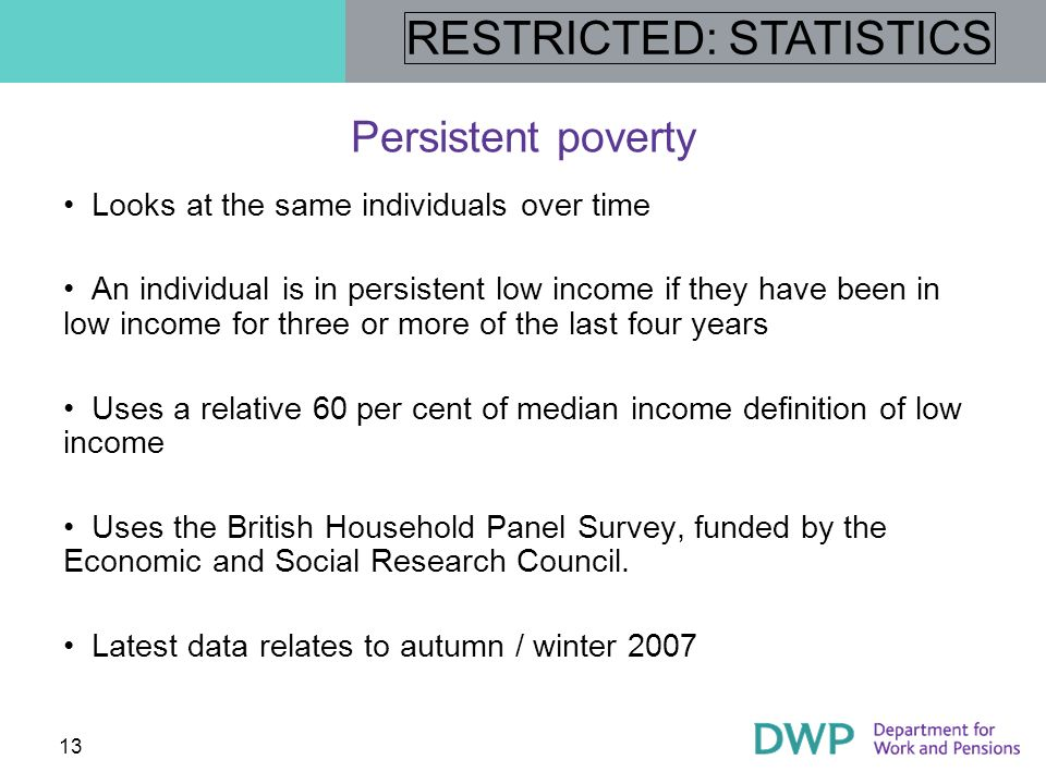 Persistent poverty Looks at the same individuals over time
