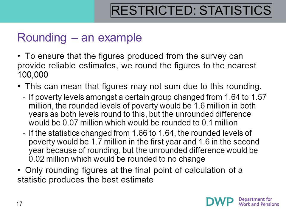 Rounding – an example To ensure that the figures produced from the survey can provide reliable estimates, we round the figures to the nearest 100,000.
