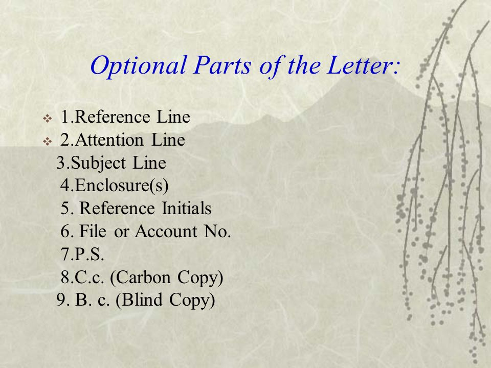 Optional Parts Of A Business Letter