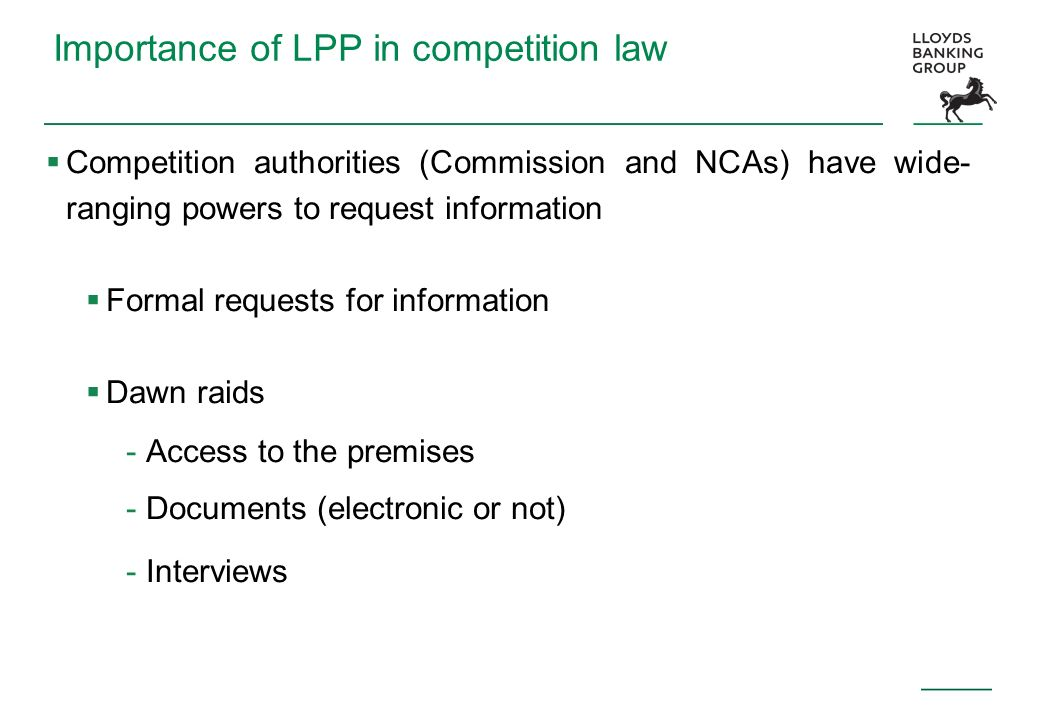Importance of LPP in competition law