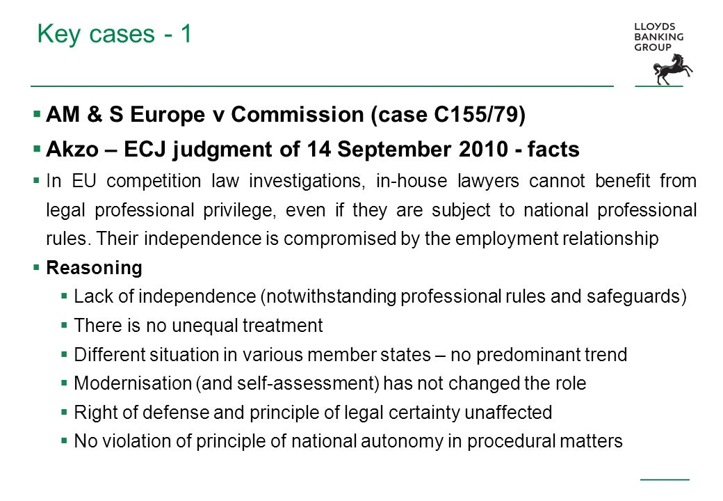 Key cases - 1 AM & S Europe v Commission (case C155/79)