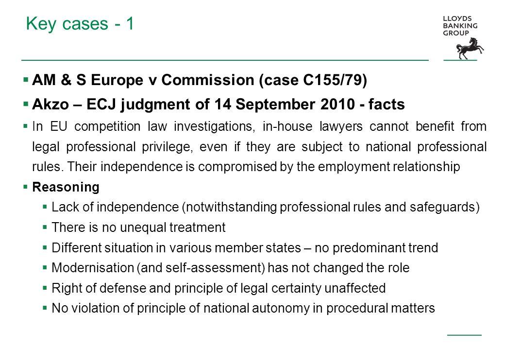Key cases - 1 AM & S Europe v Commission (case C155/79)