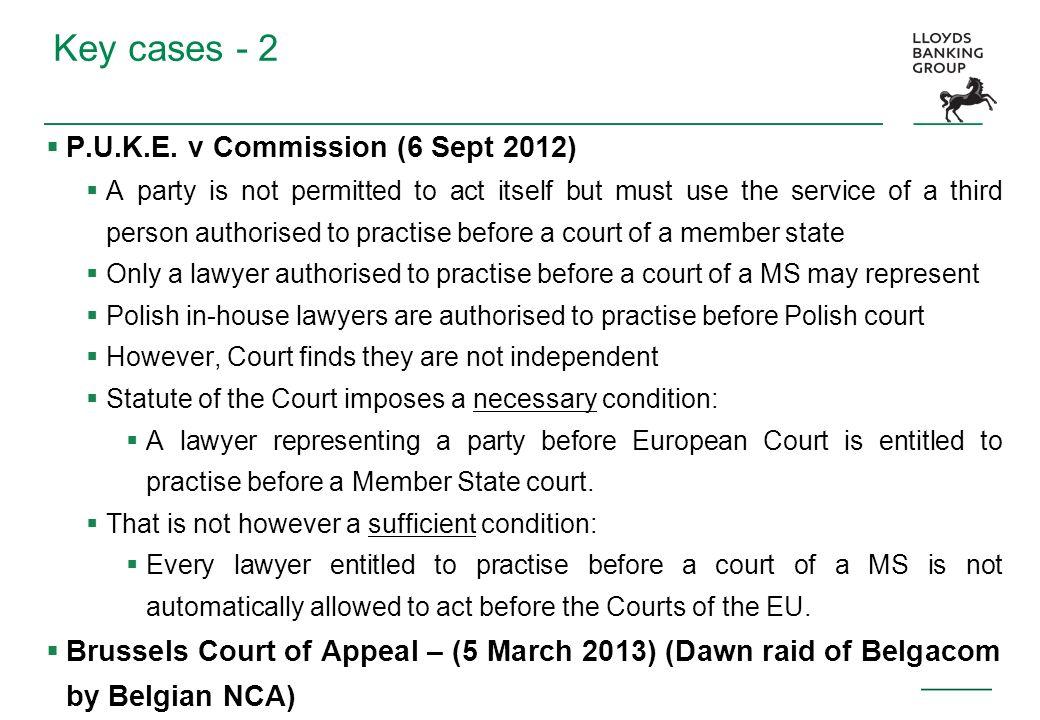 Key cases - 2 P.U.K.E. v Commission (6 Sept 2012)