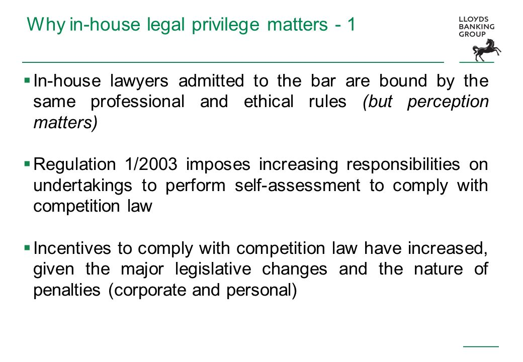 Why in-house legal privilege matters - 1