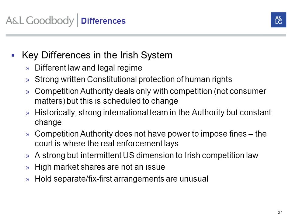 Key Differences in the Irish System