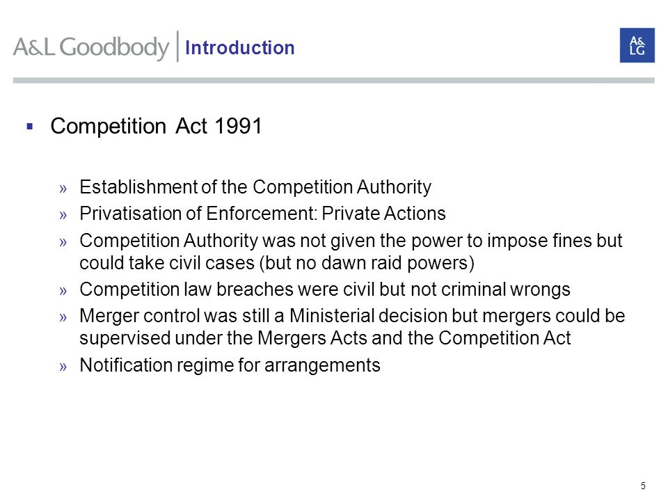 Competition Act 1991 Introduction