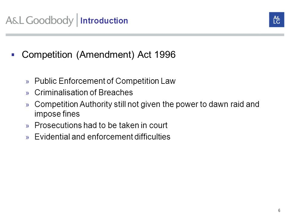 Competition (Amendment) Act 1996