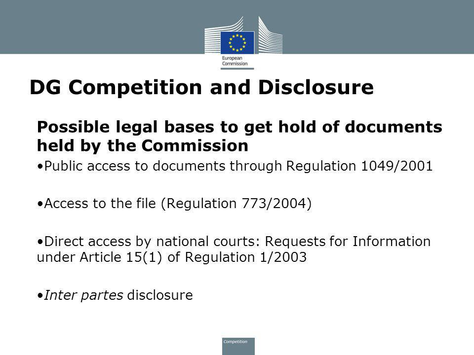 DG Competition and Disclosure