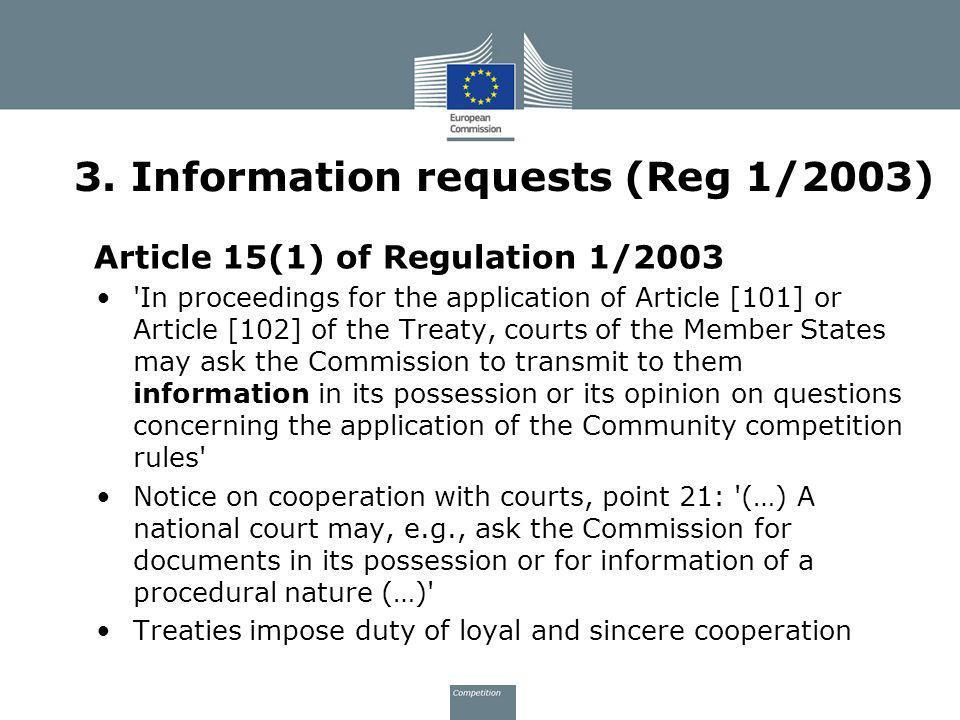 3. Information requests (Reg 1/2003)