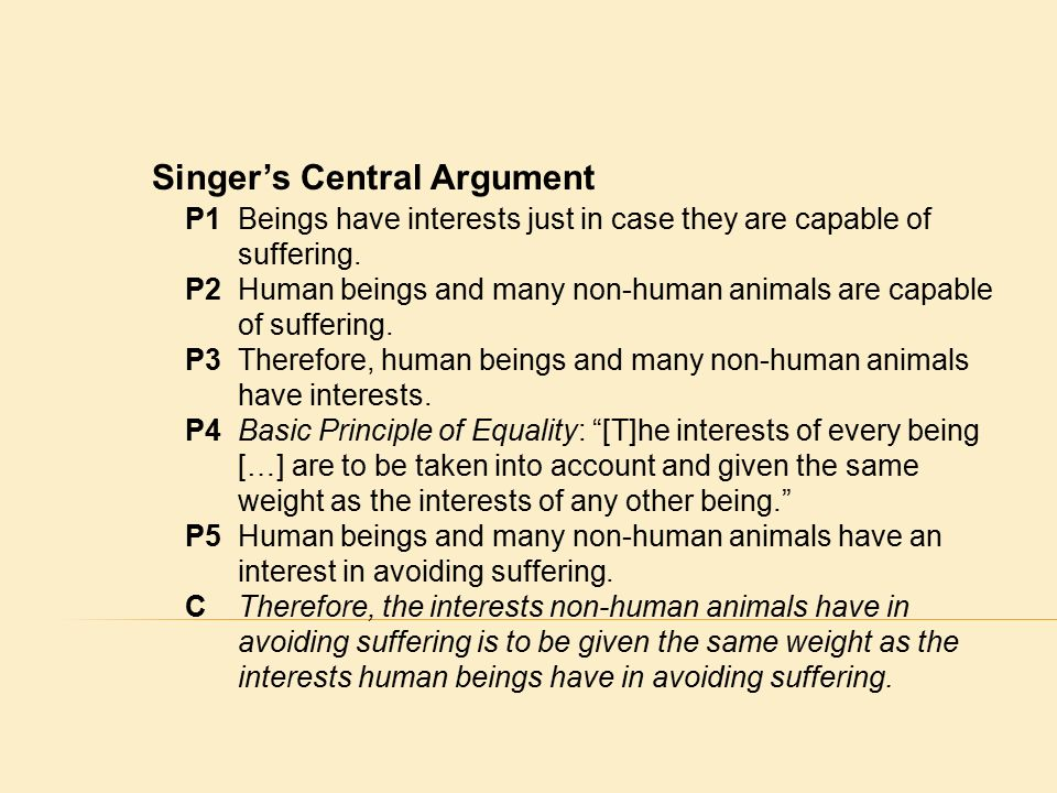 all animals are equal peter singer thesis Lam kai chak, a drinking party with peter singer, aristotle and karl marx: discussion on the animal liberation movement 41 beings are morally equal or the conclusion of all humans and some non.