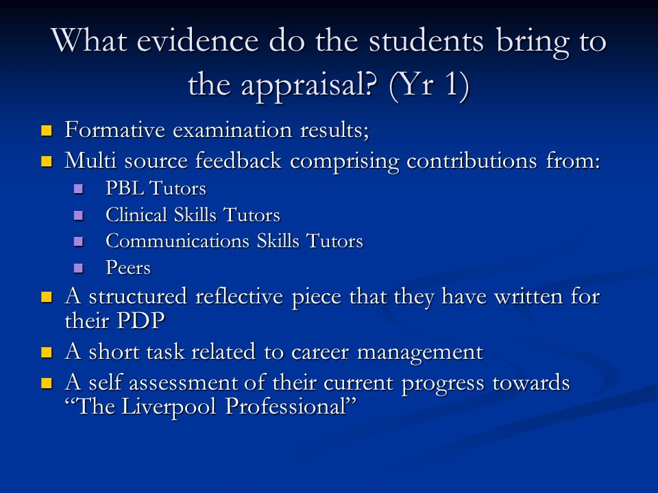 What evidence do the students bring to the appraisal (Yr 1)