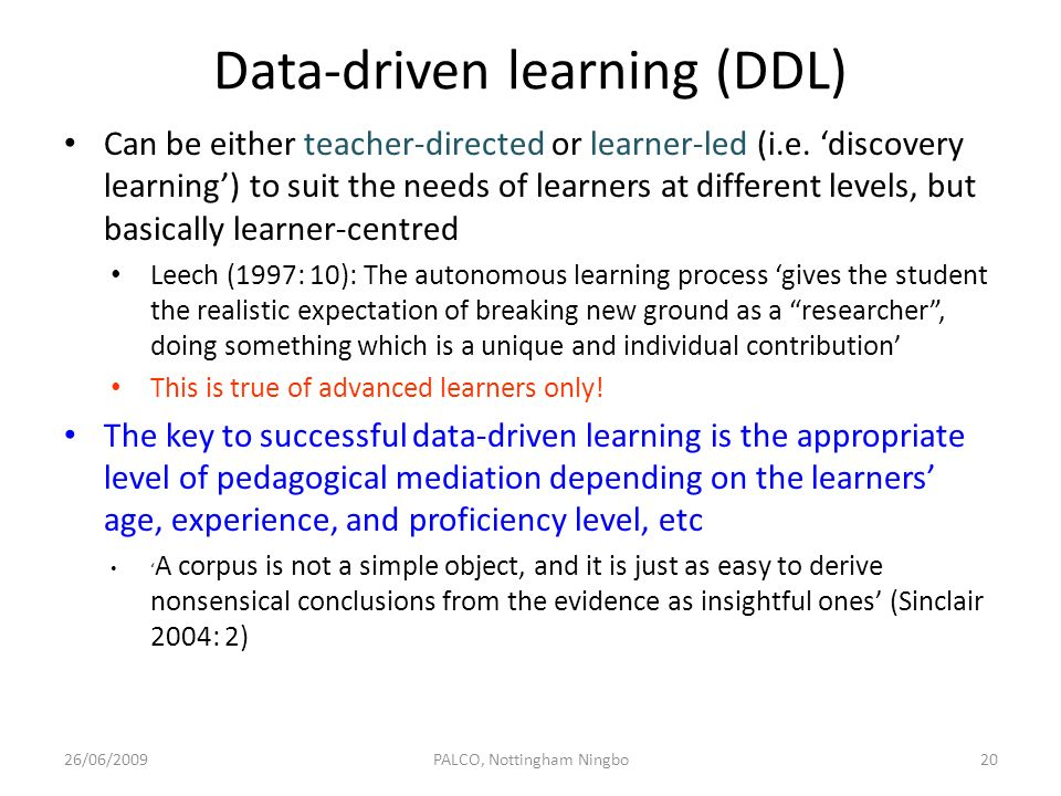 Data-driven learning (DDL)