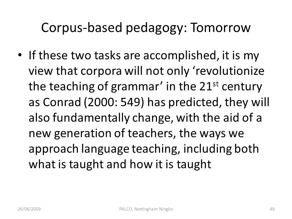 Corpus-based pedagogy: Tomorrow