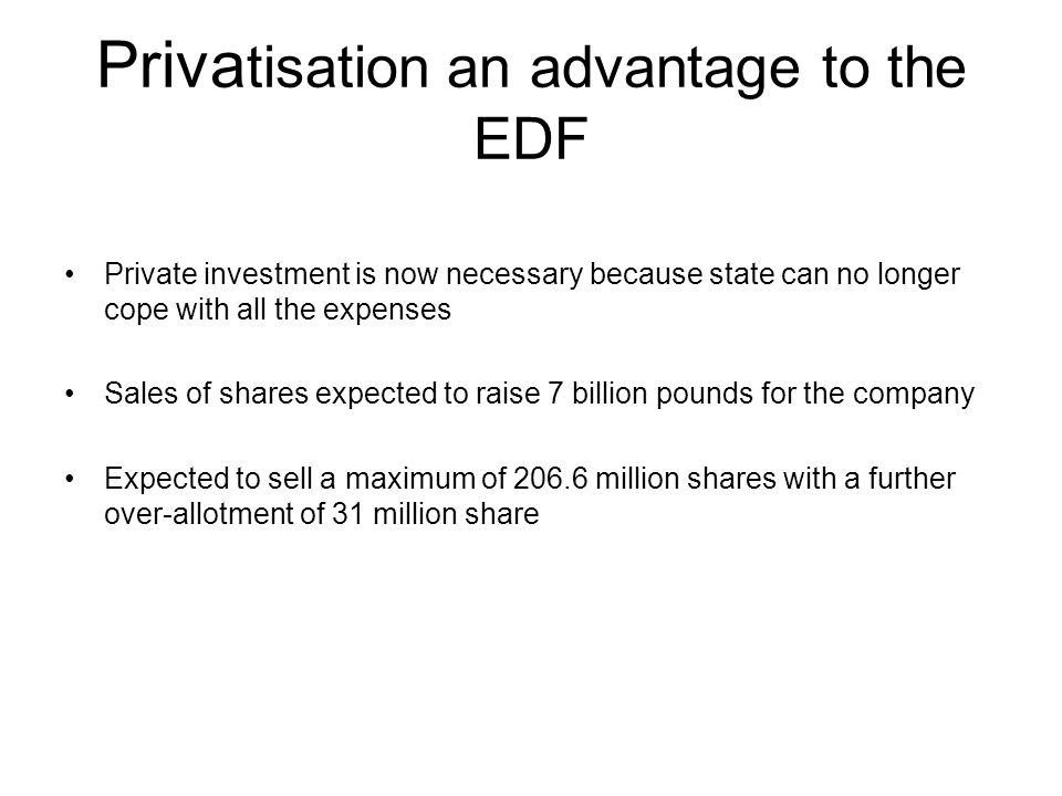 Privatisation an advantage to the EDF