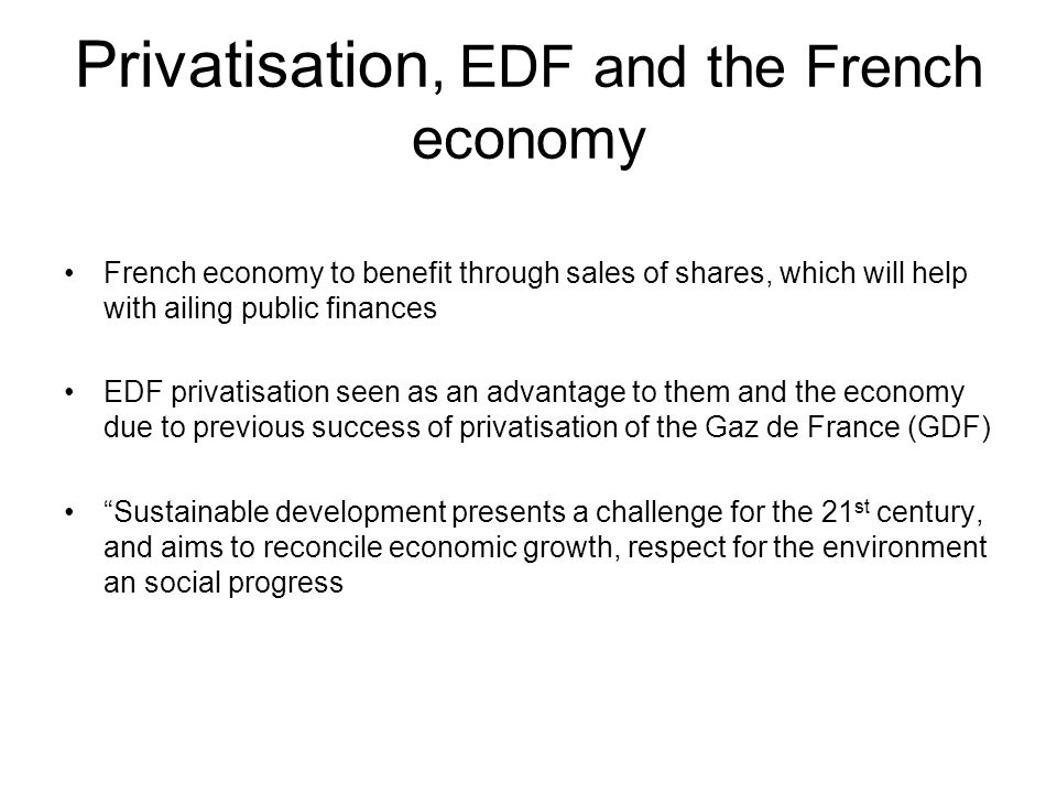 Privatisation, EDF and the French economy