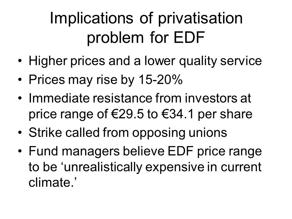 Implications of privatisation problem for EDF