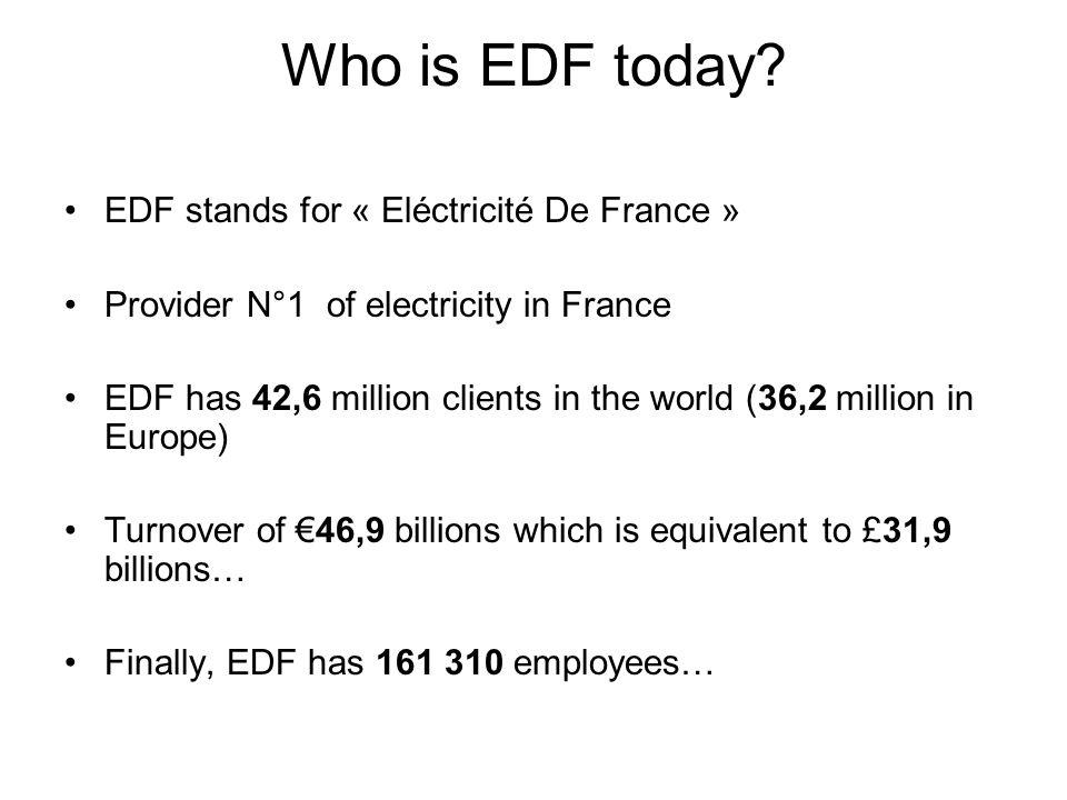 Who is EDF today EDF stands for « Eléctricité De France »