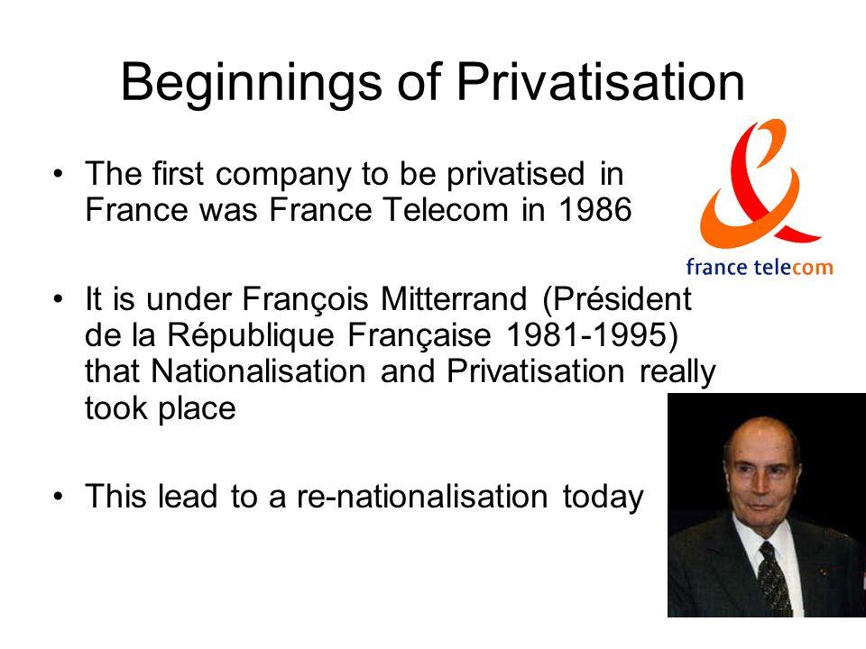Beginnings of Privatisation
