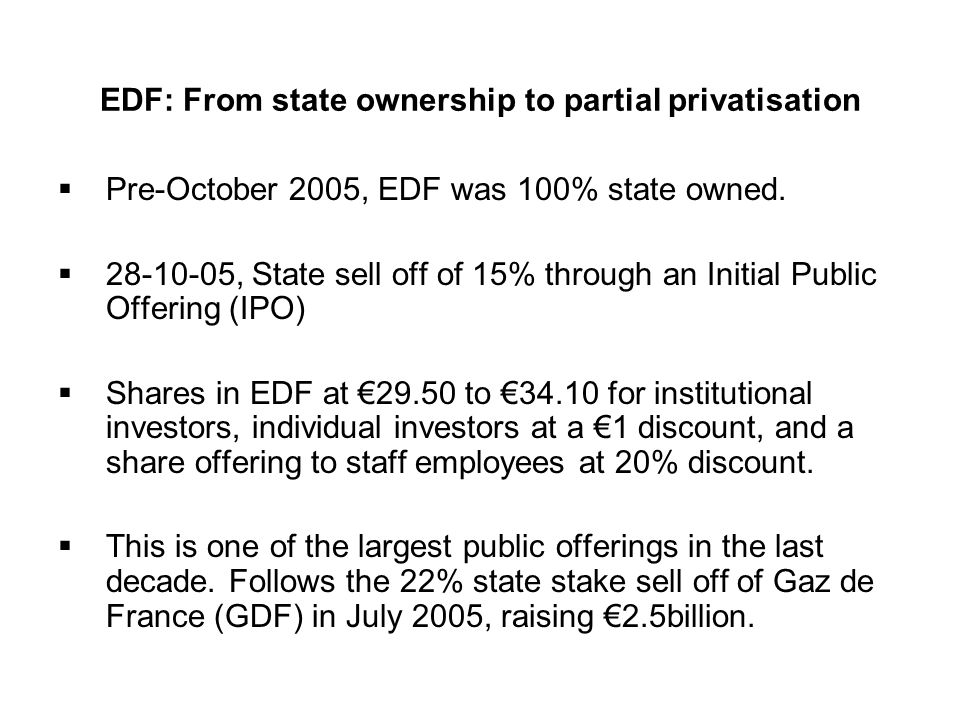 EDF: From state ownership to partial privatisation