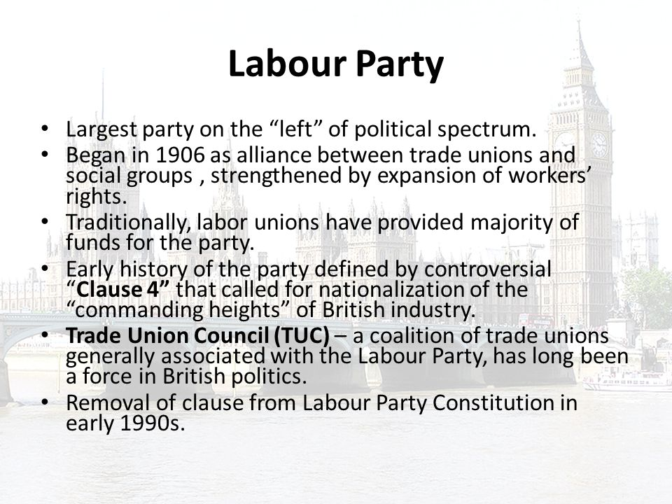Political Affiliation of Trade Union Essay