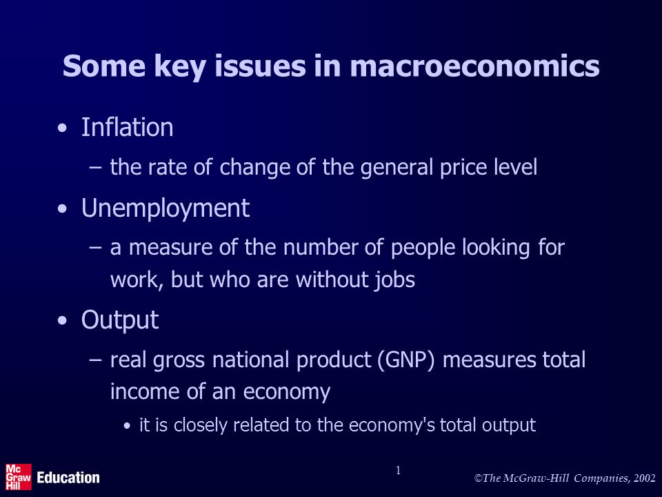 More key issues in macroeconomics