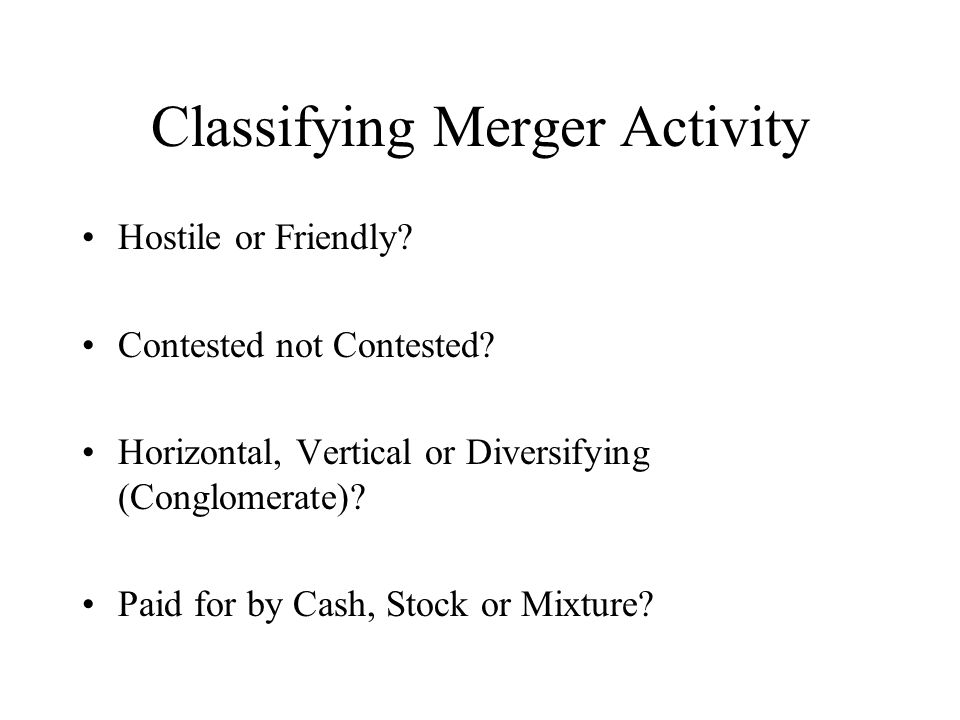 Classifying Merger Activity